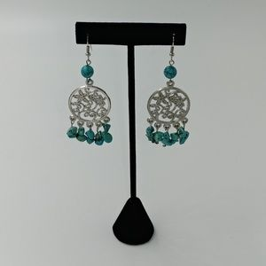 NWT Silvertone and Turquoise Earrings